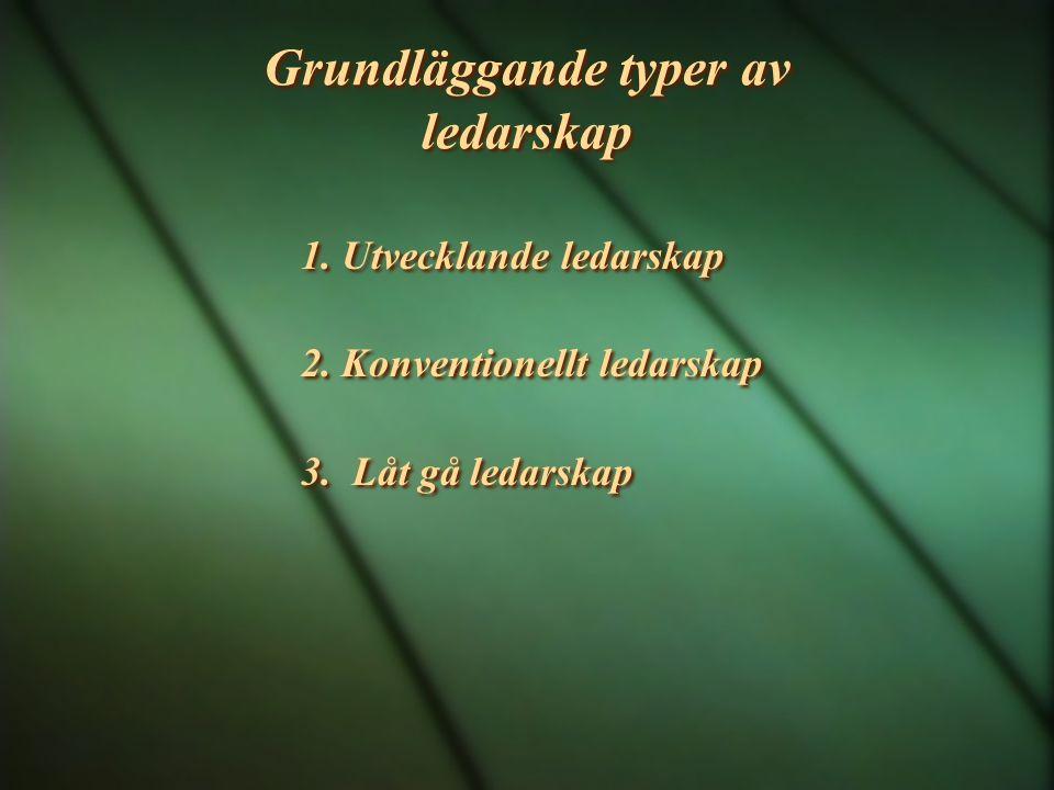 Grundläggande typer av ledarskap 1. Utvecklande ledarskap 2. Konventionellt ledarskap 3. Låt gå ledarskap 1. Utvecklande ledarskap 2. Konventionellt l