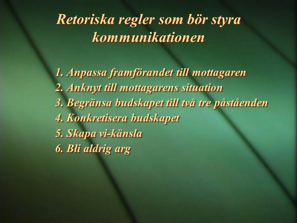 Retoriska regler som bör styra kommunikationen 1. Anpassa framförandet till mottagaren 2. Anknyt till mottagarens situation 3. Begränsa budskapet till