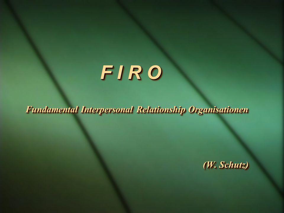 F I R O Fundamental Interpersonal Relationship Organisationen (W. Schutz) (W. Schutz) F I R O Fundamental Interpersonal Relationship Organisationen (W