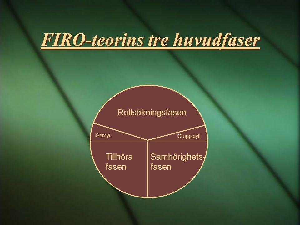 FIRO-teorins tre huvudfaser Tillhöra fasen Gemyt Rollsökningsfasen Samhörighets- fasen Gruppidyll