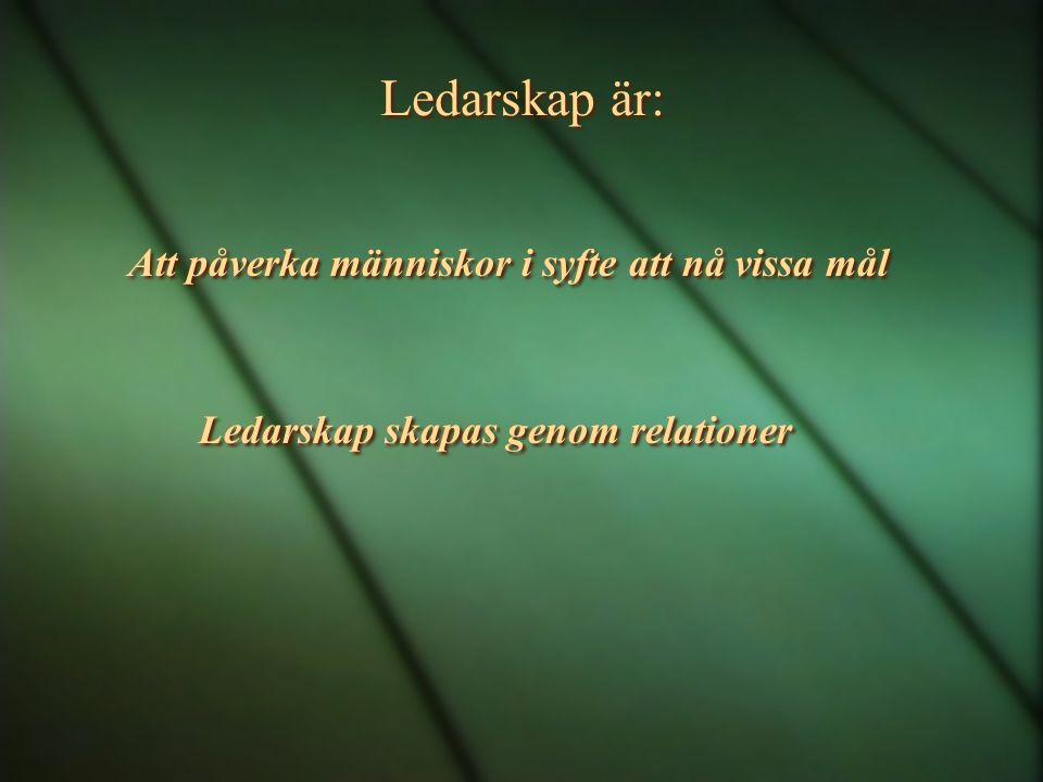 Ledarskap är: Att påverka människor i syfte att nå vissa mål Ledarskap skapas genom relationer Att påverka människor i syfte att nå vissa mål Ledarska