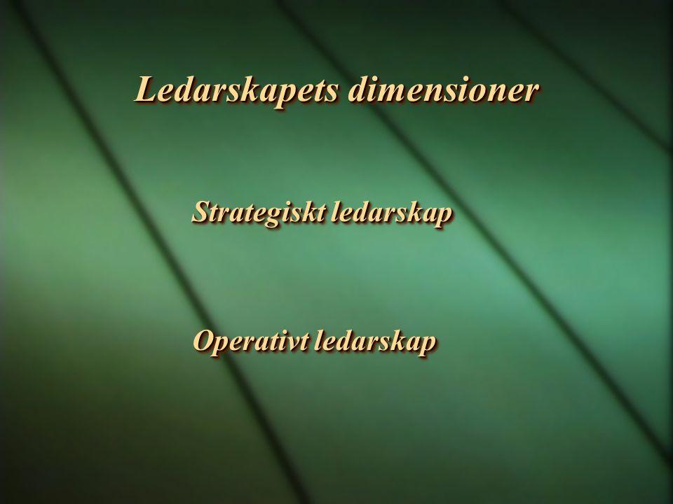 Ledarskapets dimensioner Strategiskt ledarskap Operativt ledarskap Strategiskt ledarskap Operativt ledarskap