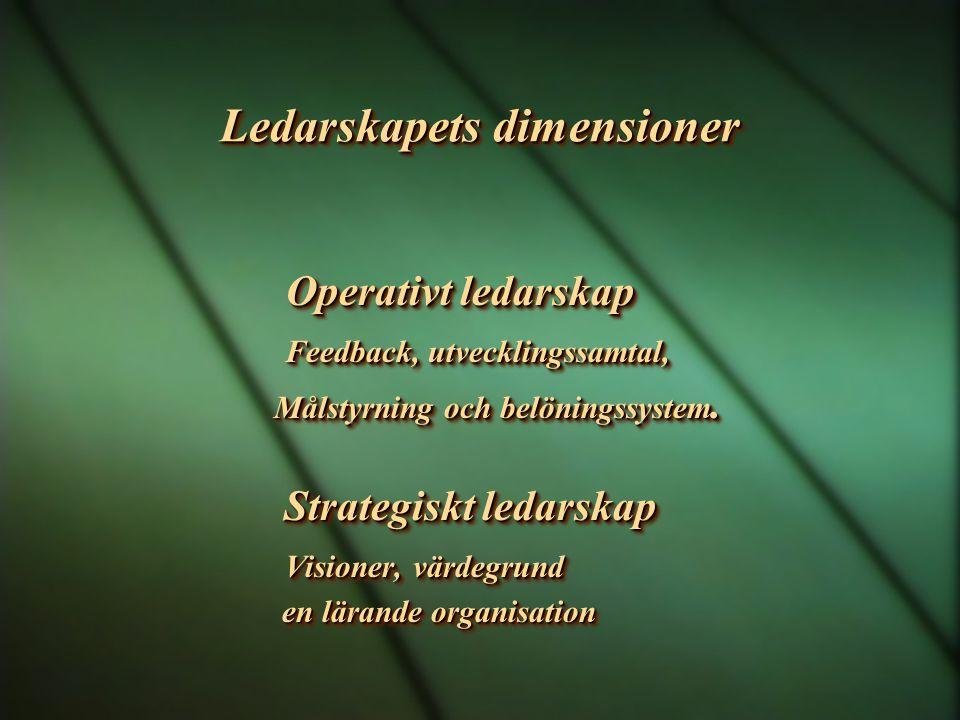 Ledarskapets dimensioner Operativt ledarskap Feedback, utvecklingssamtal, Feedback, utvecklingssamtal, Målstyrning och belöningssystem. Strategiskt le