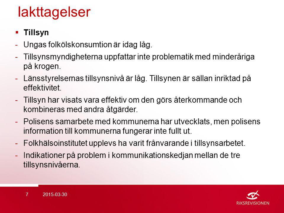 Iakttagelser  Tillsyn -Ungas folkölskonsumtion är idag låg.