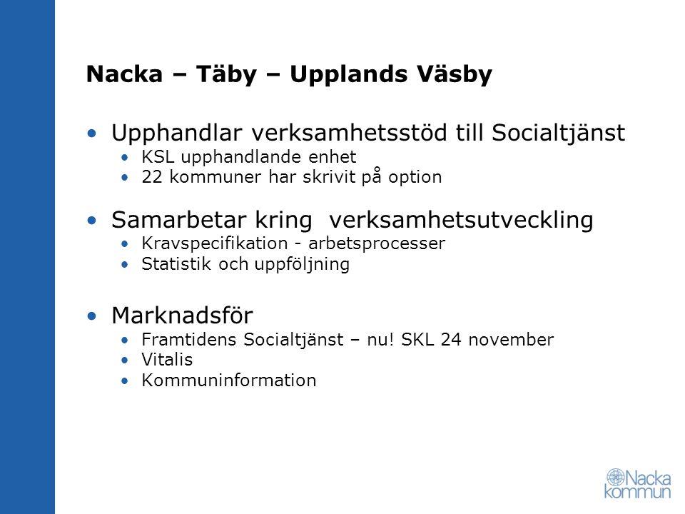 Nacka – Täby – Upplands Väsby Upphandlar verksamhetsstöd till Socialtjänst KSL upphandlande enhet 22 kommuner har skrivit på option Samarbetar kring v