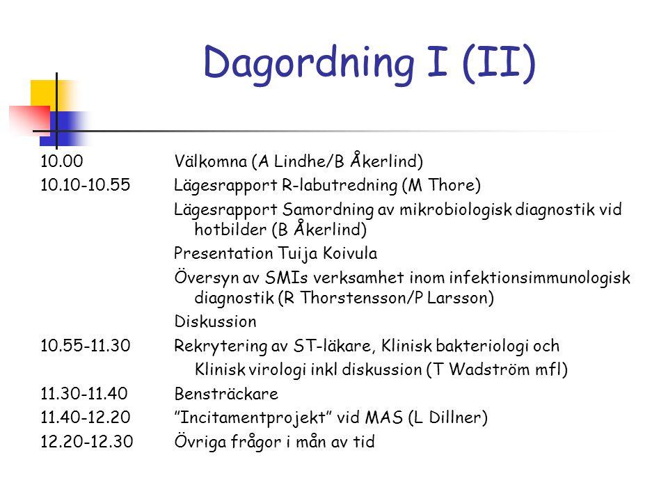 Dagordning II (II) 12.30-13.30Lunch 13.30-14.30Biomedicinare som resurs på kliniska laboratorier – Bologna-processen inkl diskussion (E Lundgren) Övriga frågor i mån av tid 14.30-14.45Kaffe 14.45-15.55Rapport från utbildningsutskottets arbete med målbeskrivning och utbildningsbok för specialiten Klinisk bakteriologi och Klinisk virologi (K Johanssen) 15.55-16.00Avslutning och tack (B Åkerlind)
