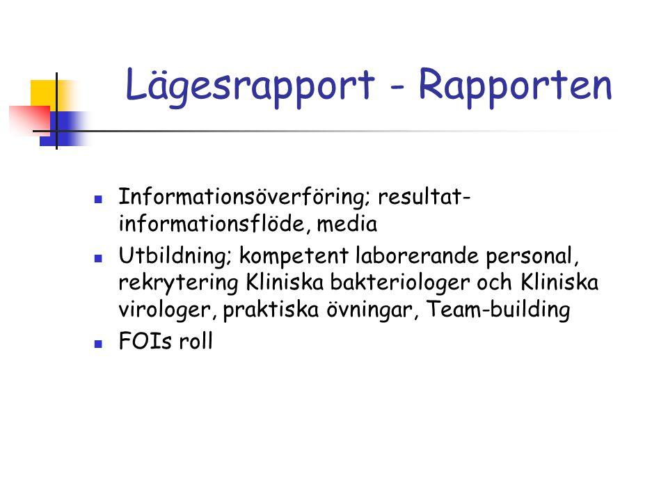 Lägesrapport - Rapporten Informationsöverföring; resultat- informationsflöde, media Utbildning; kompetent laborerande personal, rekrytering Kliniska bakteriologer och Kliniska virologer, praktiska övningar, Team-building FOIs roll