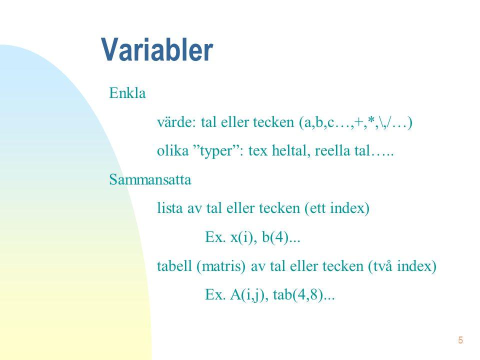 """5 Variabler Enkla värde: tal eller tecken (a,b,c…,+,*,\,/…) olika """"typer"""": tex heltal, reella tal….. Sammansatta lista av tal eller tecken (ett index)"""