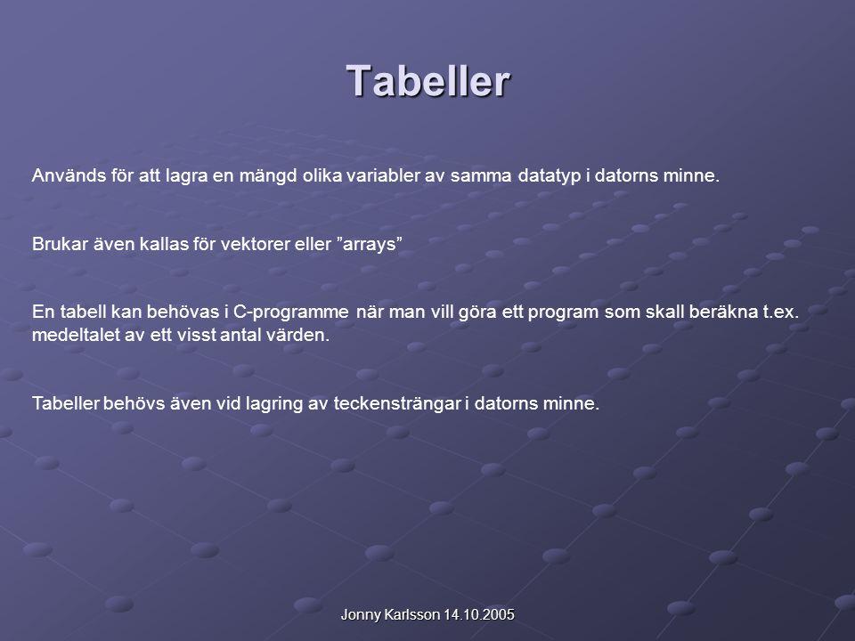 Jonny Karlsson 14.10.2005 Tabeller Används för att lagra en mängd olika variabler av samma datatyp i datorns minne. Brukar även kallas för vektorer el