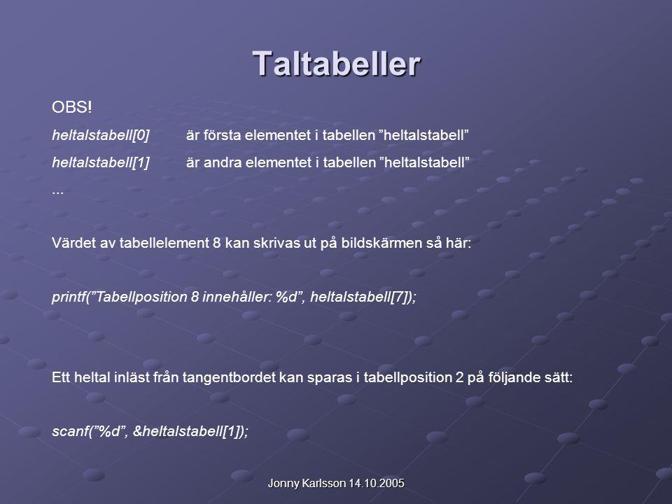 """Jonny Karlsson 14.10.2005 Taltabeller OBS! heltalstabell[0]är första elementet i tabellen """"heltalstabell"""" heltalstabell[1]är andra elementet i tabelle"""