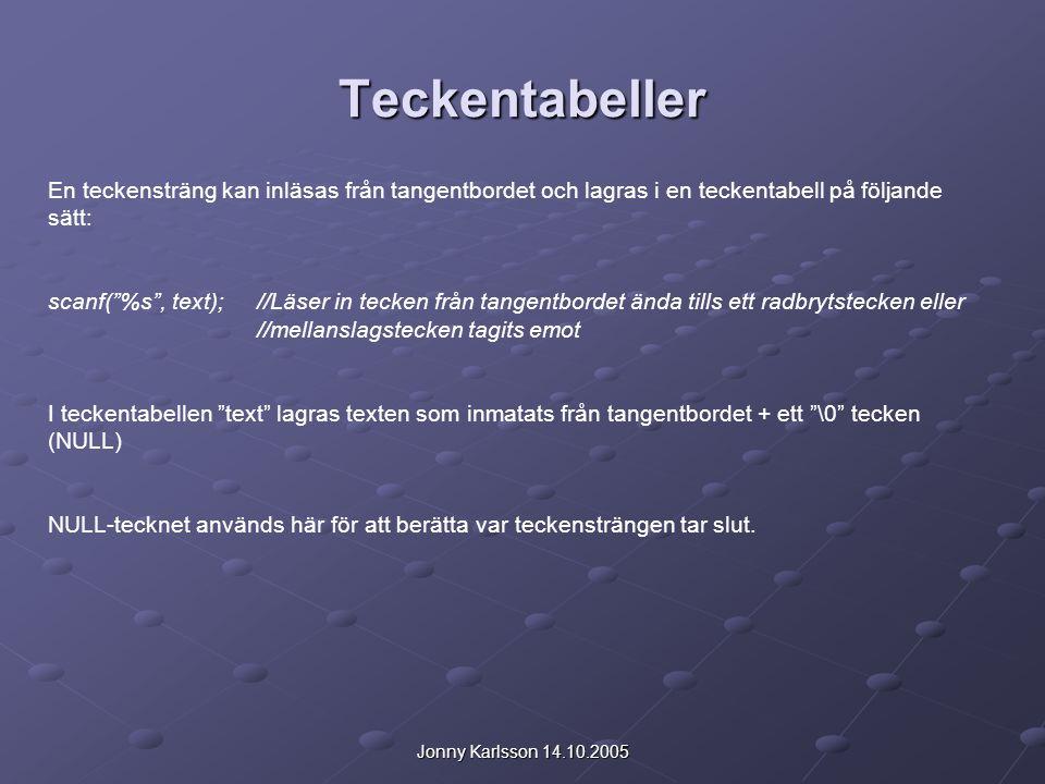 """Jonny Karlsson 14.10.2005 Teckentabeller En teckensträng kan inläsas från tangentbordet och lagras i en teckentabell på följande sätt: scanf(""""%s"""", tex"""