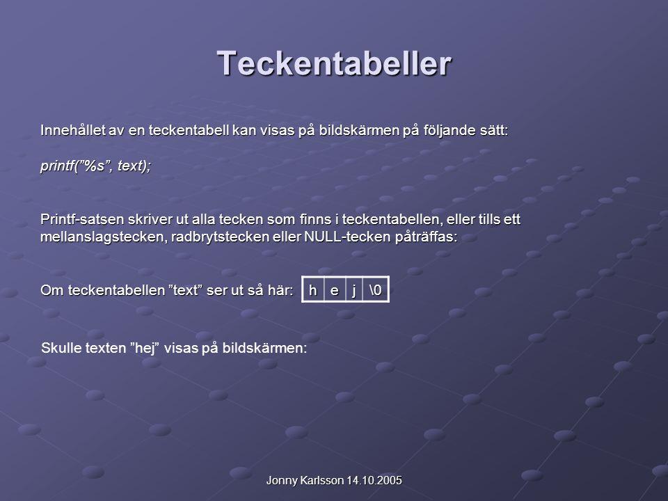 """Jonny Karlsson 14.10.2005 Teckentabeller Innehållet av en teckentabell kan visas på bildskärmen på följande sätt: printf(""""%s"""", text); Printf-satsen sk"""