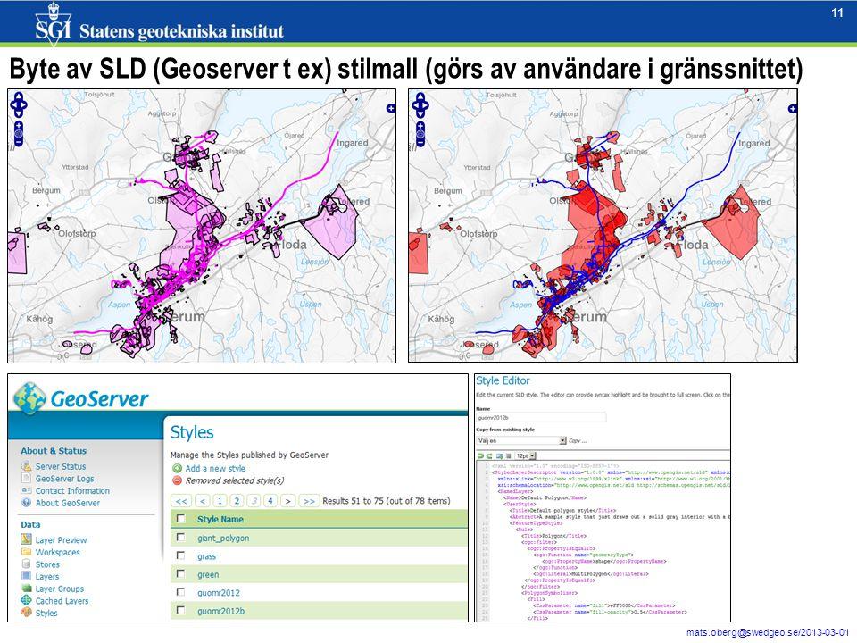 11 mats.oberg@swedgeo.se/2013-03-01 11 Byte av SLD (Geoserver t ex) stilmall (görs av användare i gränssnittet)