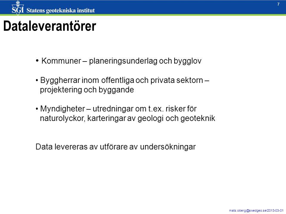 7 mats.oberg@swedgeo.se/2013-03-01 7 Dataleverantörer Kommuner – planeringsunderlag och bygglov Byggherrar inom offentliga och privata sektorn – proje