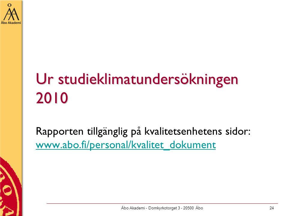 Åbo Akademi - Domkyrkotorget 3 - 20500 Åbo24 Ur studieklimatundersökningen 2010 Rapporten tillgänglig på kvalitetsenhetens sidor: www.abo.fi/personal/kvalitet_dokument www.abo.fi/personal/kvalitet_dokument