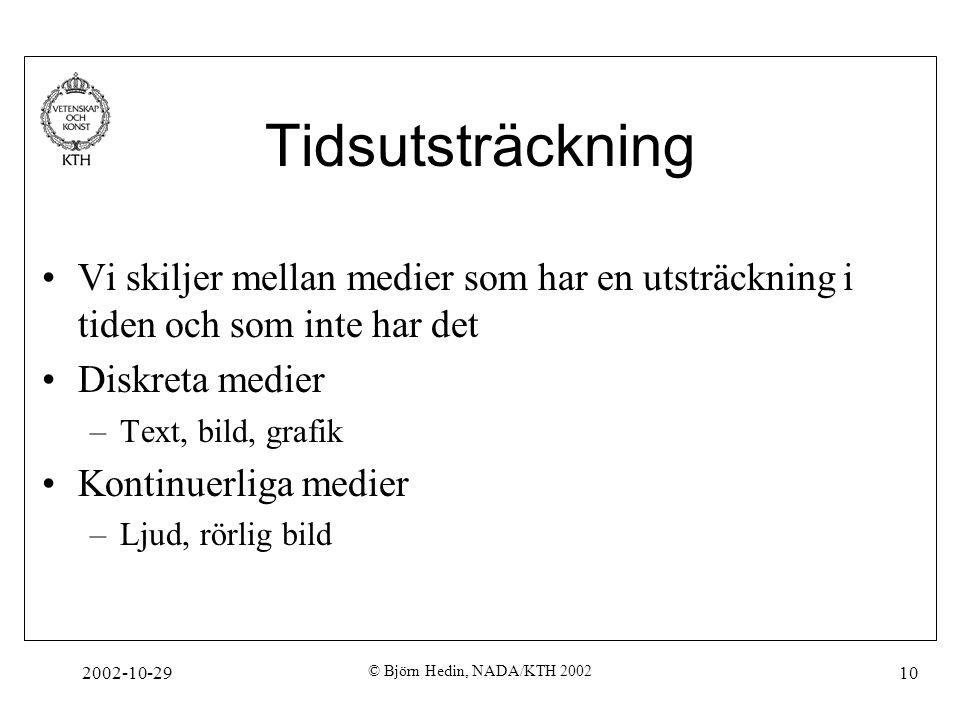 2002-10-29 © Björn Hedin, NADA/KTH 2002 10 Tidsutsträckning Vi skiljer mellan medier som har en utsträckning i tiden och som inte har det Diskreta medier –Text, bild, grafik Kontinuerliga medier –Ljud, rörlig bild