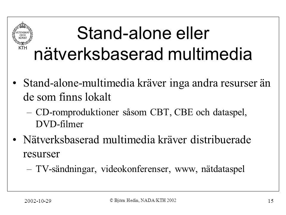 2002-10-29 © Björn Hedin, NADA/KTH 2002 15 Stand-alone eller nätverksbaserad multimedia Stand-alone-multimedia kräver inga andra resurser än de som finns lokalt –CD-romproduktioner såsom CBT, CBE och dataspel, DVD-filmer Nätverksbaserad multimedia kräver distribuerade resurser –TV-sändningar, videokonferenser, www, nätdataspel