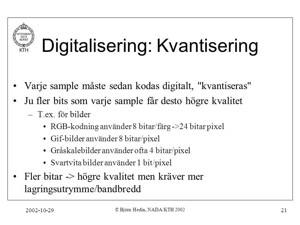 2002-10-29 © Björn Hedin, NADA/KTH 2002 21 Digitalisering: Kvantisering Varje sample måste sedan kodas digitalt, kvantiseras Ju fler bits som varje sample får desto högre kvalitet –T.ex.