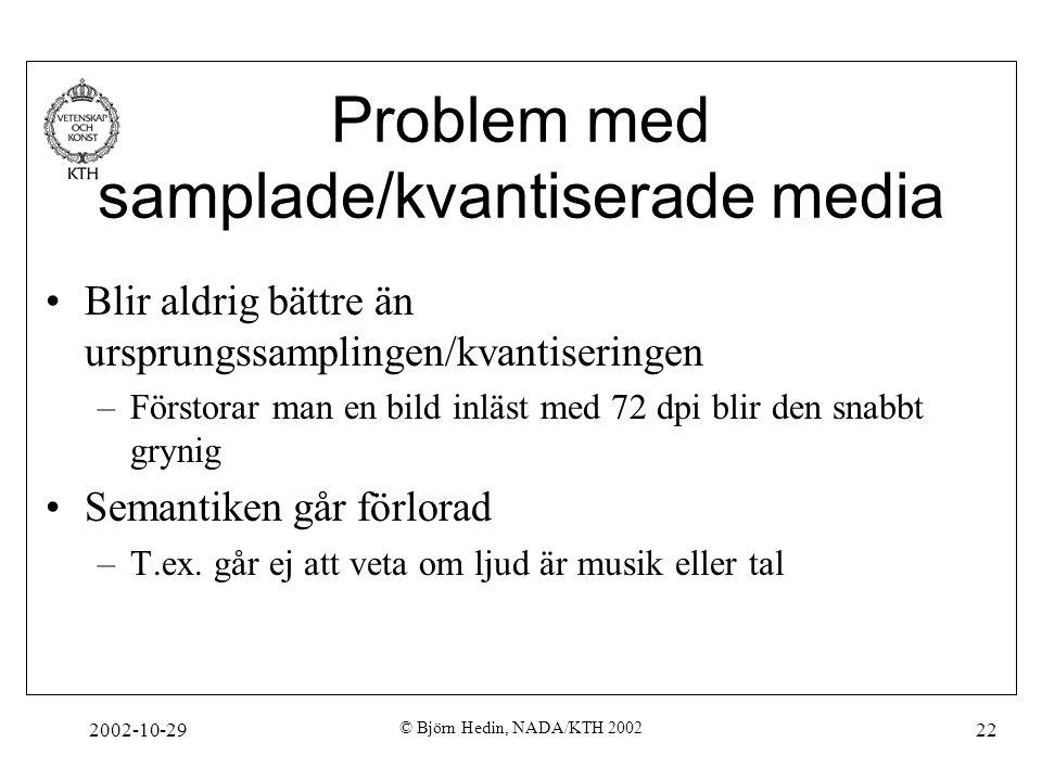 2002-10-29 © Björn Hedin, NADA/KTH 2002 22 Problem med samplade/kvantiserade media Blir aldrig bättre än ursprungssamplingen/kvantiseringen –Förstorar man en bild inläst med 72 dpi blir den snabbt grynig Semantiken går förlorad –T.ex.