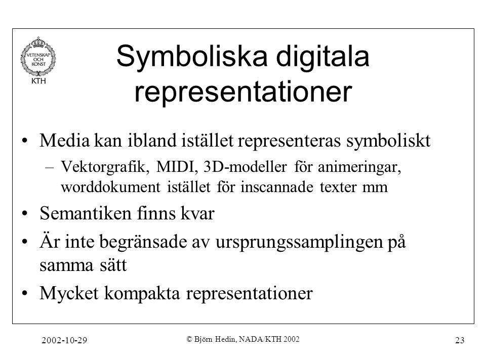 2002-10-29 © Björn Hedin, NADA/KTH 2002 23 Symboliska digitala representationer Media kan ibland istället representeras symboliskt –Vektorgrafik, MIDI, 3D-modeller för animeringar, worddokument istället för inscannade texter mm Semantiken finns kvar Är inte begränsade av ursprungssamplingen på samma sätt Mycket kompakta representationer