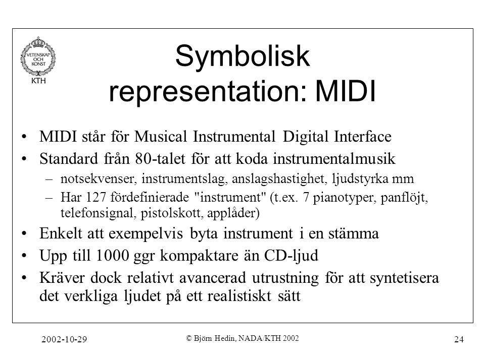 2002-10-29 © Björn Hedin, NADA/KTH 2002 24 Symbolisk representation: MIDI MIDI står för Musical Instrumental Digital Interface Standard från 80-talet för att koda instrumentalmusik –notsekvenser, instrumentslag, anslagshastighet, ljudstyrka mm –Har 127 fördefinierade instrument (t.ex.