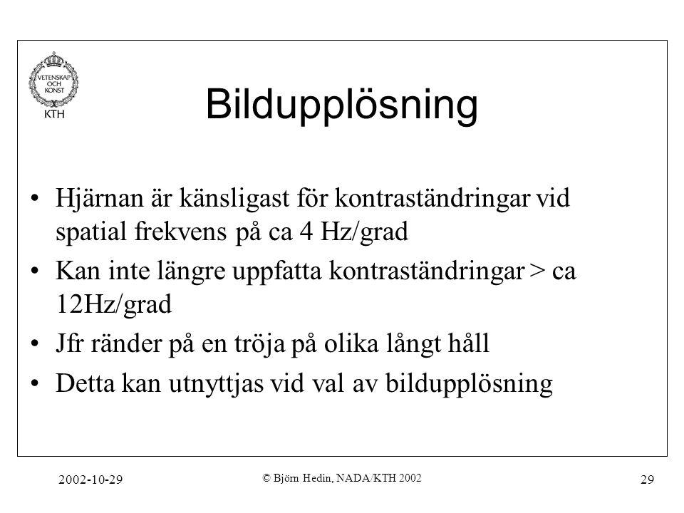 2002-10-29 © Björn Hedin, NADA/KTH 2002 29 Bildupplösning Hjärnan är känsligast för kontraständringar vid spatial frekvens på ca 4 Hz/grad Kan inte längre uppfatta kontraständringar > ca 12Hz/grad Jfr ränder på en tröja på olika långt håll Detta kan utnyttjas vid val av bildupplösning