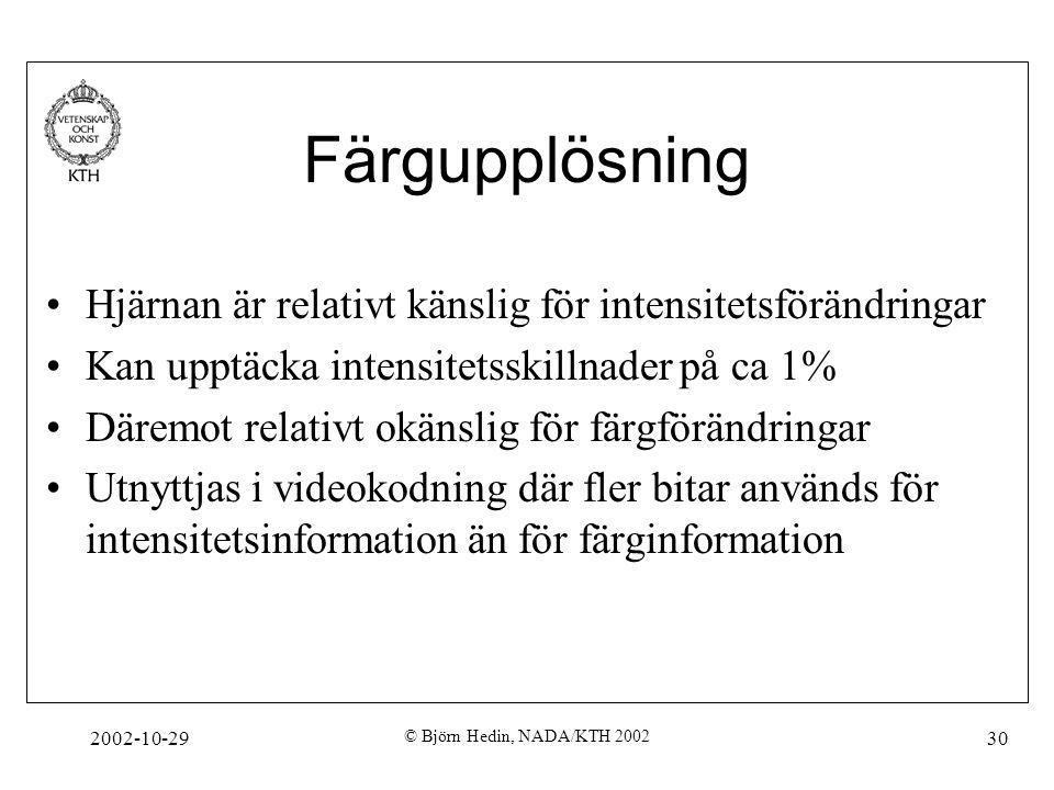 2002-10-29 © Björn Hedin, NADA/KTH 2002 30 Färgupplösning Hjärnan är relativt känslig för intensitetsförändringar Kan upptäcka intensitetsskillnader på ca 1% Däremot relativt okänslig för färgförändringar Utnyttjas i videokodning där fler bitar används för intensitetsinformation än för färginformation