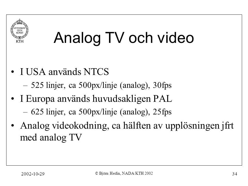 2002-10-29 © Björn Hedin, NADA/KTH 2002 34 Analog TV och video I USA används NTCS –525 linjer, ca 500px/linje (analog), 30fps I Europa används huvudsakligen PAL –625 linjer, ca 500px/linje (analog), 25fps Analog videokodning, ca hälften av upplösningen jfrt med analog TV