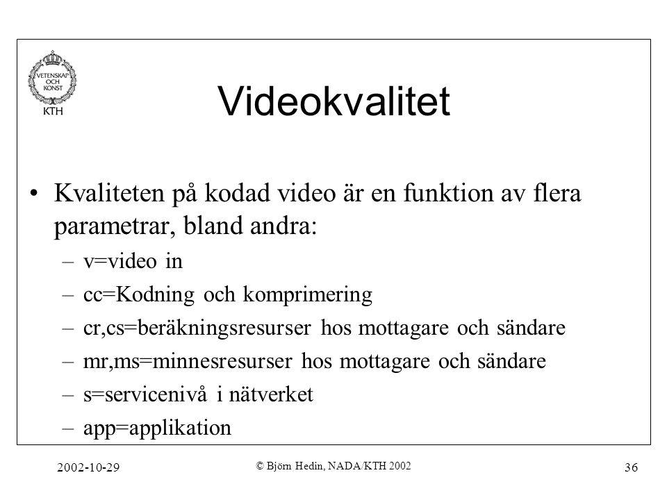 2002-10-29 © Björn Hedin, NADA/KTH 2002 36 Videokvalitet Kvaliteten på kodad video är en funktion av flera parametrar, bland andra: –v=video in –cc=Kodning och komprimering –cr,cs=beräkningsresurser hos mottagare och sändare –mr,ms=minnesresurser hos mottagare och sändare –s=servicenivå i nätverket –app=applikation