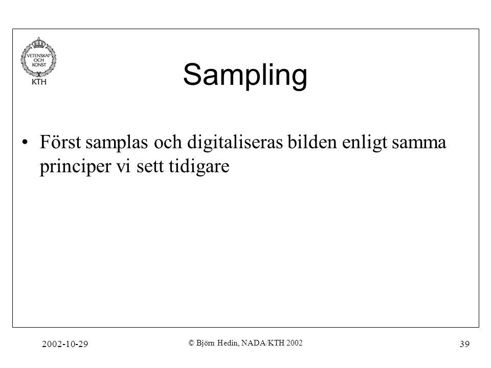 2002-10-29 © Björn Hedin, NADA/KTH 2002 39 Sampling Först samplas och digitaliseras bilden enligt samma principer vi sett tidigare