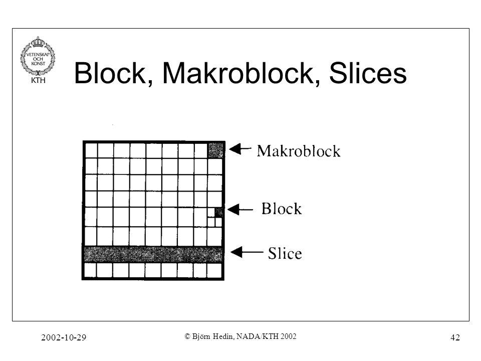 2002-10-29 © Björn Hedin, NADA/KTH 2002 42 Block, Makroblock, Slices