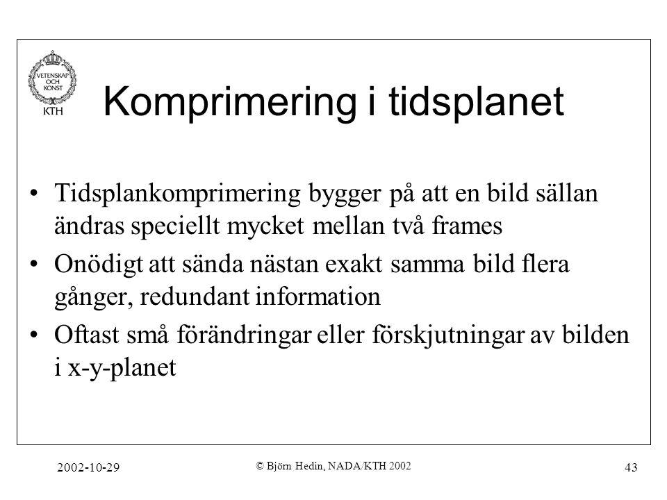 2002-10-29 © Björn Hedin, NADA/KTH 2002 43 Komprimering i tidsplanet Tidsplankomprimering bygger på att en bild sällan ändras speciellt mycket mellan två frames Onödigt att sända nästan exakt samma bild flera gånger, redundant information Oftast små förändringar eller förskjutningar av bilden i x-y-planet