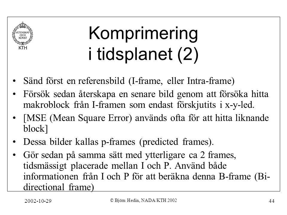 2002-10-29 © Björn Hedin, NADA/KTH 2002 44 Komprimering i tidsplanet (2) Sänd först en referensbild (I-frame, eller Intra-frame) Försök sedan återskapa en senare bild genom att försöka hitta makroblock från I-framen som endast förskjutits i x-y-led.