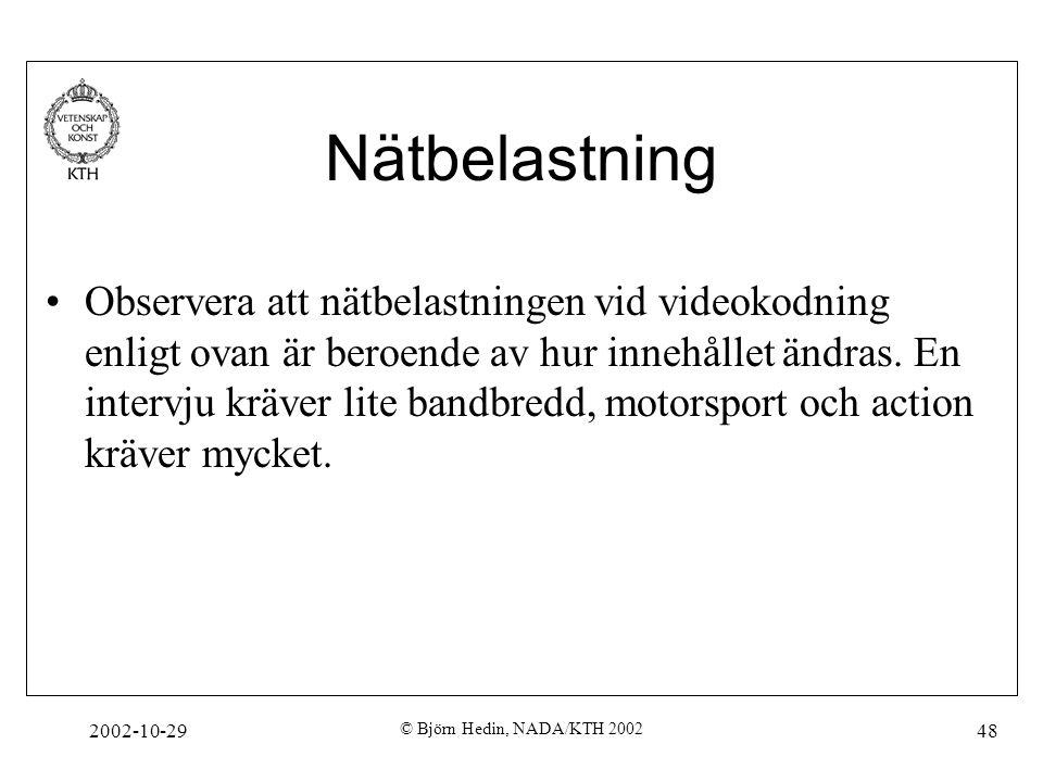 2002-10-29 © Björn Hedin, NADA/KTH 2002 48 Nätbelastning Observera att nätbelastningen vid videokodning enligt ovan är beroende av hur innehållet ändras.
