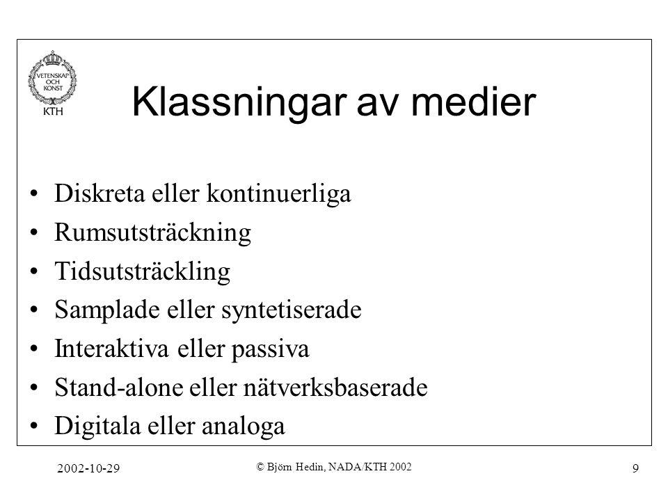 2002-10-29 © Björn Hedin, NADA/KTH 2002 9 Klassningar av medier Diskreta eller kontinuerliga Rumsutsträckning Tidsutsträckling Samplade eller syntetiserade Interaktiva eller passiva Stand-alone eller nätverksbaserade Digitala eller analoga