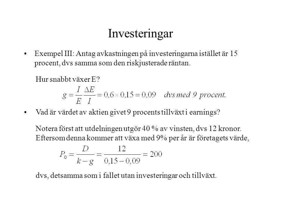 Investeringar Exempel III: Antag avkastningen på investeringarna istället är 15 procent, dvs samma som den riskjusterade räntan. Hur snabbt växer E? V