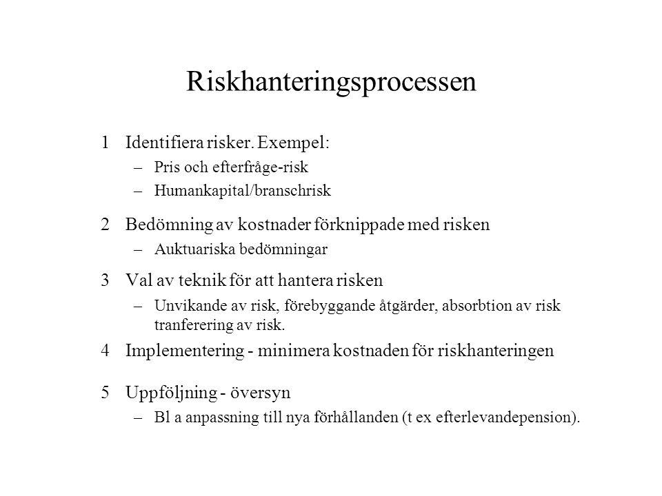 Riskhanteringsprocessen 1Identifiera risker. Exempel: –Pris och efterfråge-risk –Humankapital/branschrisk 2Bedömning av kostnader förknippade med risk