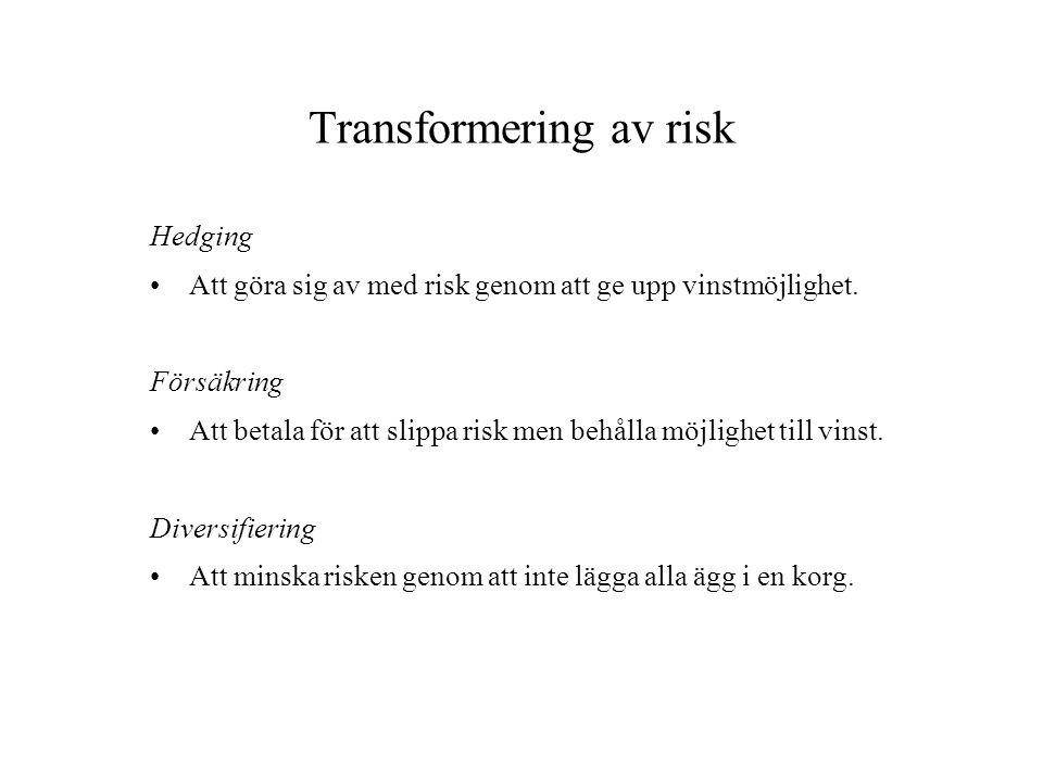 Transformering av risk Hedging Att göra sig av med risk genom att ge upp vinstmöjlighet. Försäkring Att betala för att slippa risk men behålla möjligh