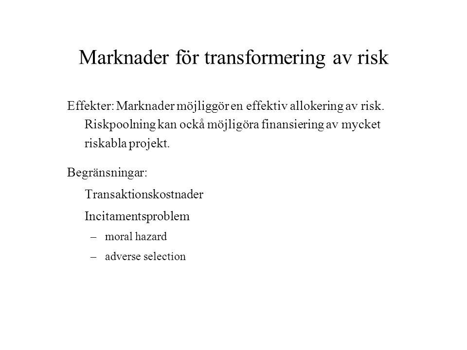 Marknader för transformering av risk Effekter: Marknader möjliggör en effektiv allokering av risk. Riskpoolning kan ockå möjligöra finansiering av myc