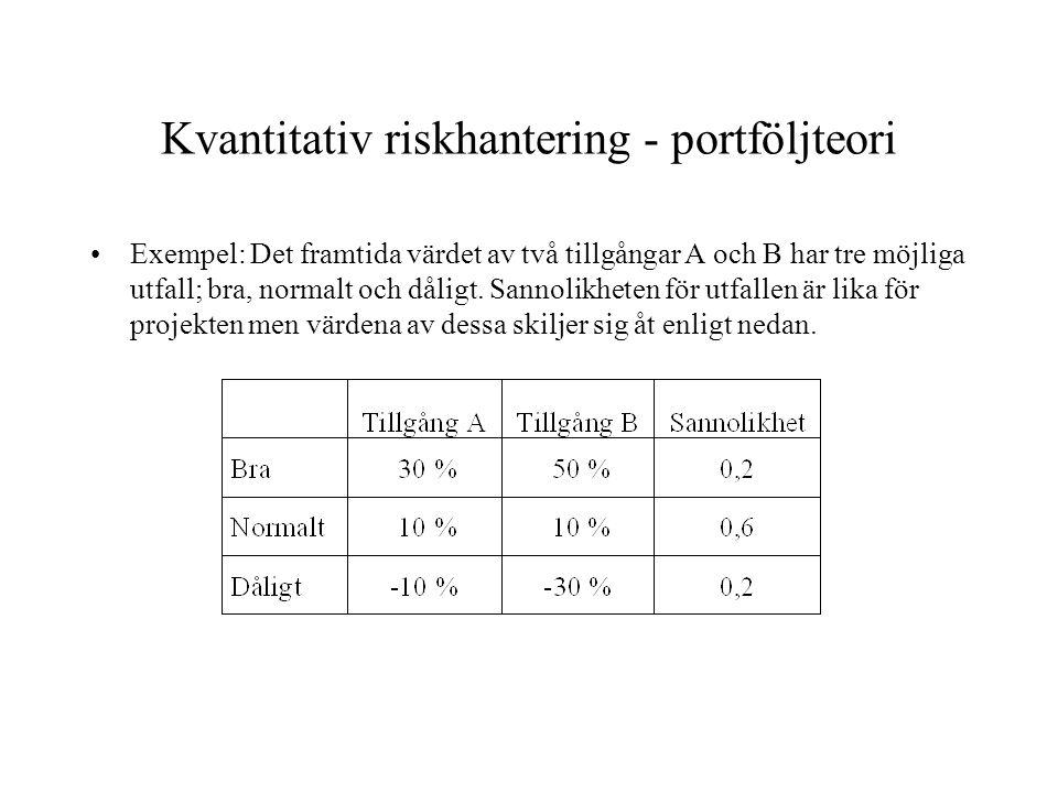 Kvantitativ riskhantering - portföljteori Exempel: Det framtida värdet av två tillgångar A och B har tre möjliga utfall; bra, normalt och dåligt. Sann