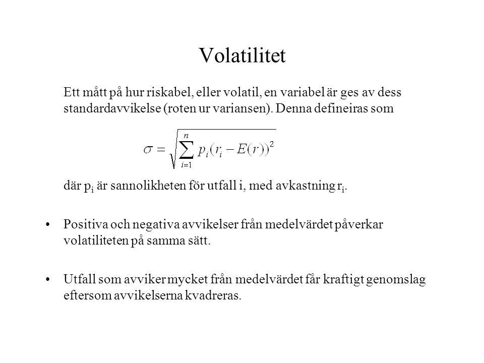 Volatilitet Ett mått på hur riskabel, eller volatil, en variabel är ges av dess standardavvikelse (roten ur variansen). Denna defineiras som där p i ä