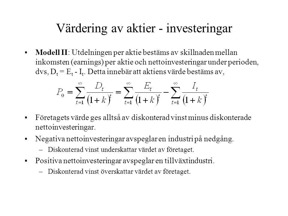 Värdering av aktier - investeringar Modell II: Utdelningen per aktie bestäms av skillnaden mellan inkomsten (earnings) per aktie och nettoinvesteringa