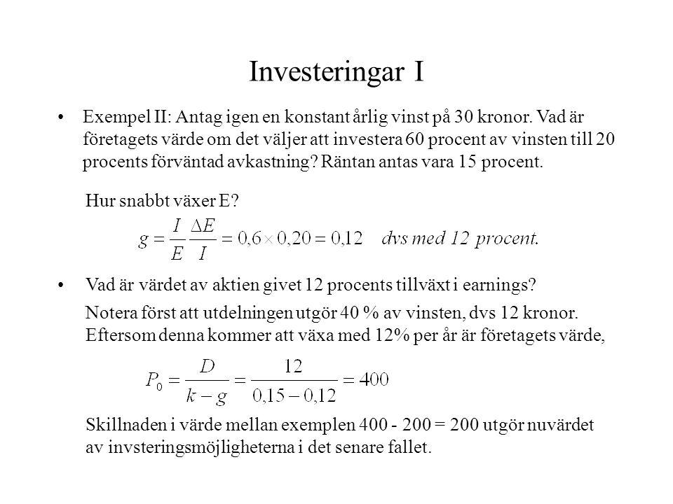Investeringar I Exempel II: Antag igen en konstant årlig vinst på 30 kronor. Vad är företagets värde om det väljer att investera 60 procent av vinsten