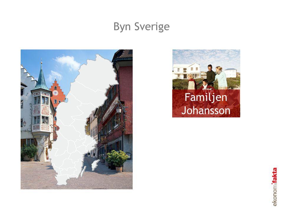 Invånarna i Byn Sverige Familjen Johansson Byn Sverige 6 studerar 8 är arbetslösa, sjukskrivna eller förtidspensionerade 49 arbetar 34 är barn eller pensionärer Invånarna i byn Sverige, år 2010 3 är värnpliktiga, hemarbetande, etc.