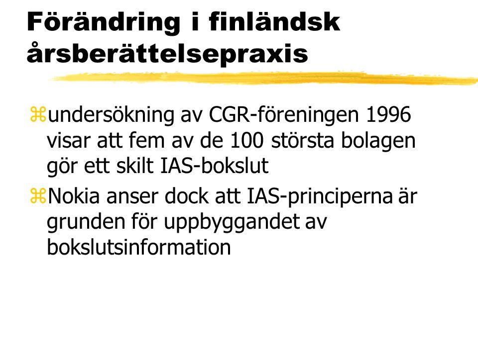 Förändring i finländsk årsberättelsepraxis zundersökning av CGR-föreningen 1996 visar att fem av de 100 största bolagen gör ett skilt IAS-bokslut zNok