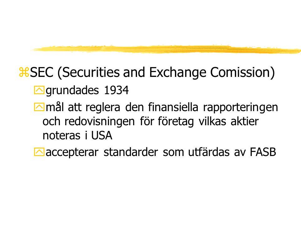 zSEC (Securities and Exchange Comission) ygrundades 1934 ymål att reglera den finansiella rapporteringen och redovisningen för företag vilkas aktier n