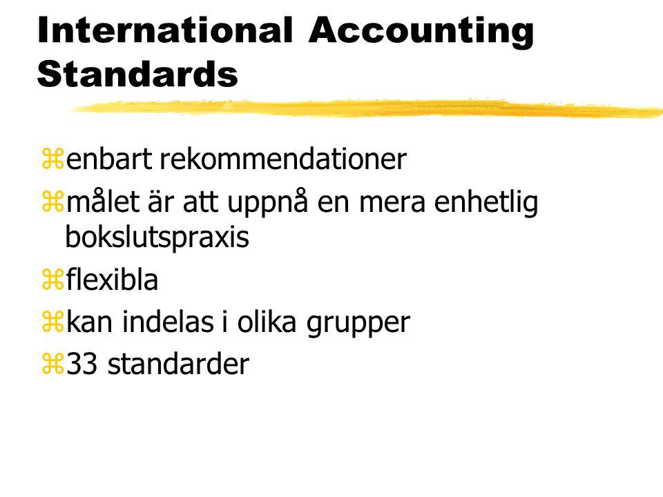 International Accounting Standards zenbart rekommendationer zmålet är att uppnå en mera enhetlig bokslutspraxis zflexibla zkan indelas i olika grupper z33 standarder