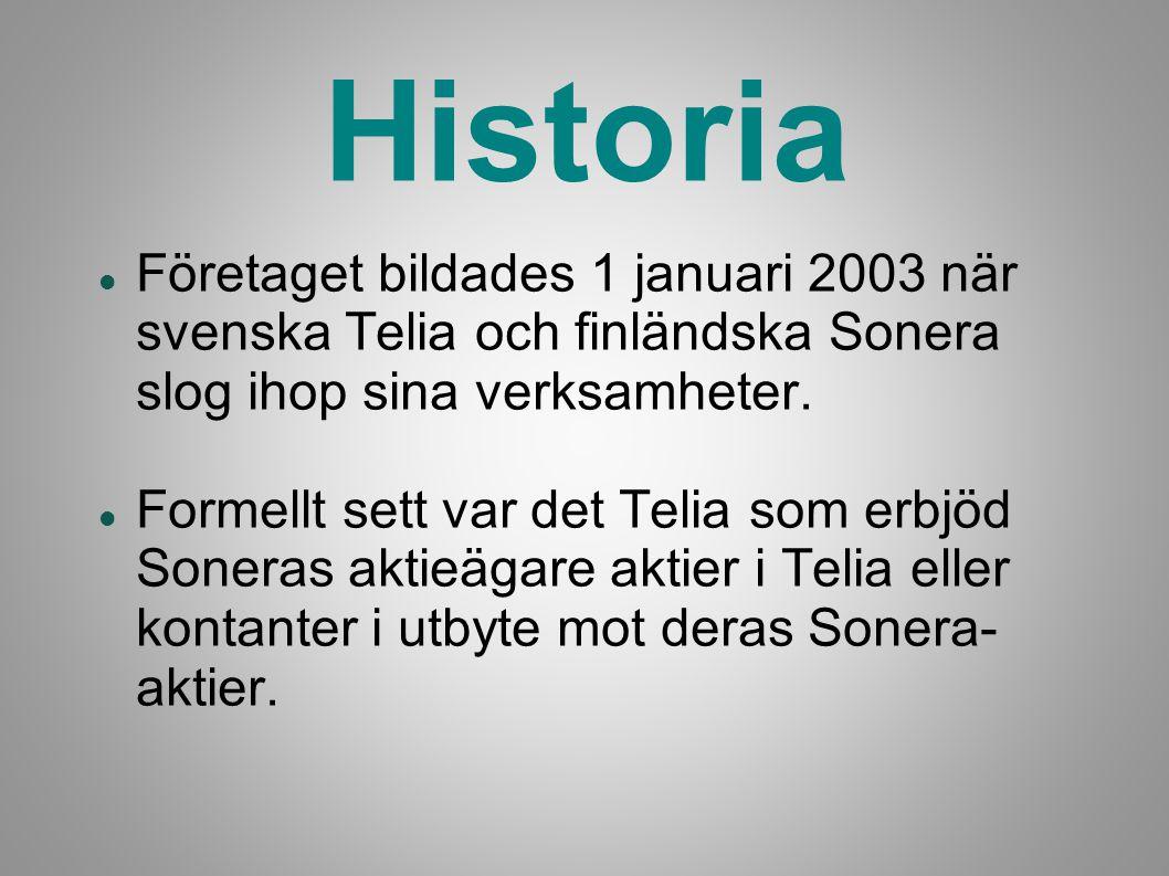 Historia Företaget bildades 1 januari 2003 när svenska Telia och finländska Sonera slog ihop sina verksamheter.