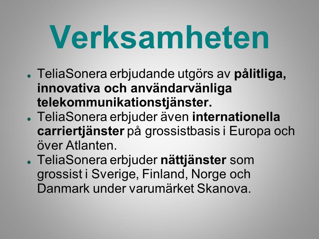 Verksamheten TeliaSonera erbjudande utgörs av pålitliga, innovativa och användarvänliga telekommunikationstjänster.