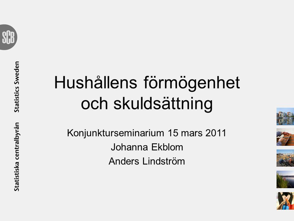 Hushållens förmögenhet och skuldsättning Konjunkturseminarium 15 mars 2011 Johanna Ekblom Anders Lindström
